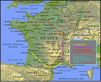 France Map - showing our current area of travels, click to view larger version